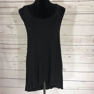 Forever 21 Black High Low With Lace Accents Top